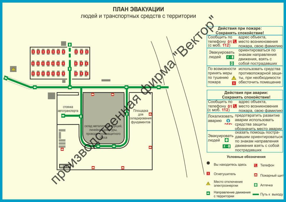 Схема расстановки транспортных средств на территории